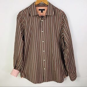 Banana Republic Striped Coral Black Cream Shirt L